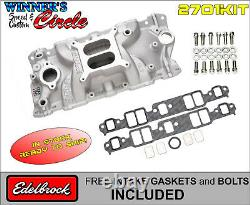 Edelbrock 2701 Perf EPS Intake SB Chevy with FREE Edelbrock Bolts and Gaskets