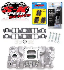 Edelbrock 7101 SBC Dual Plane Performer RPM Intake Manifold withBolts/Gaskets/RTV