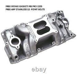 Edelbrock 7501 RPM Air Gap Intake SB Chevy w FREE ARP SS Bolts & FelPro Gaskets
